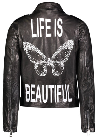 Hipchick - Leather Moto Jacket - Butterfly Crystal