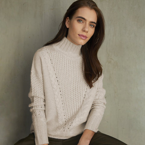 Autumn Cashmere - Cable Yoke Sweater - Chalk