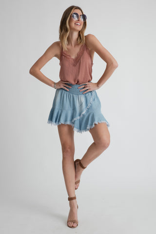 Muche et Muchette - Levi Smocked Waist Mini Skirt - Light Denim