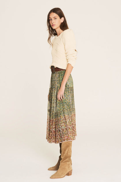 BA&SH - Metallic Floral Midi Skirt