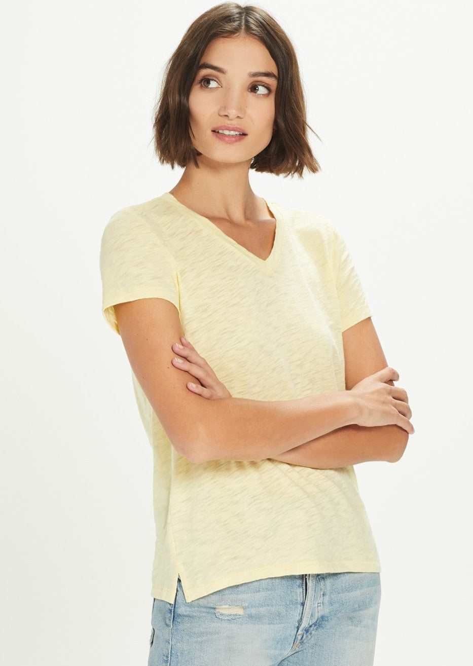 V-Neck Boy Tee - Pale Yellow