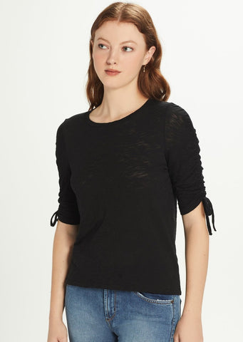 Goldie - Ruched Sleeve Tee - Black