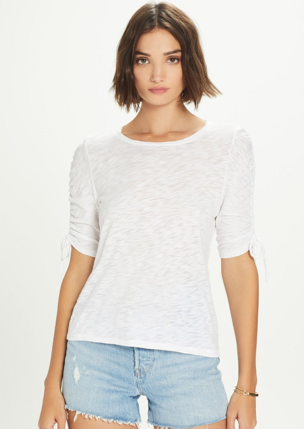 Ruched Sleeve Tee - White