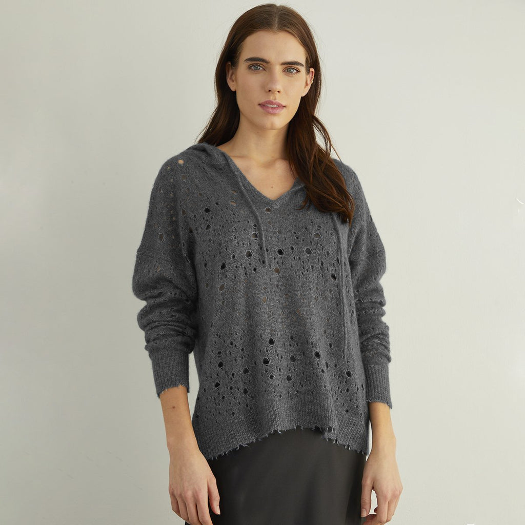 Autumn Cashmere - Distressed Pointelle Hoodie - Charcoal
