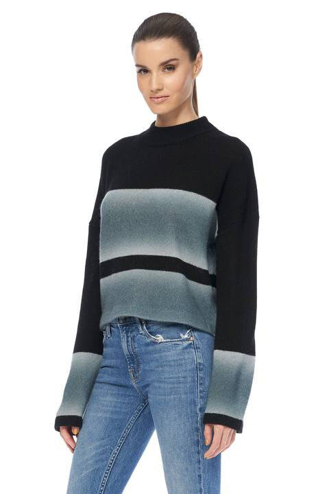 360 Cashmere - Ella Cropped Boxy Sweater - Black/Misty Blue