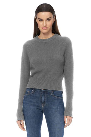 360 Cashmere - Jessika Perfect Cropped Sweater - Mid Heather Gray