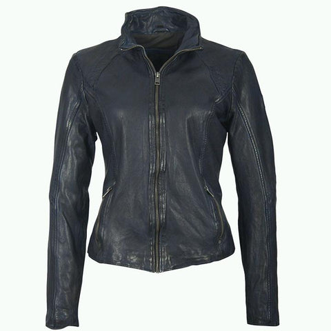 Mauritius - Hooded Moto Leather Jacket - Navy