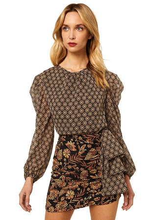 Misa - Amber Dress - Gold Paisley/Medallion