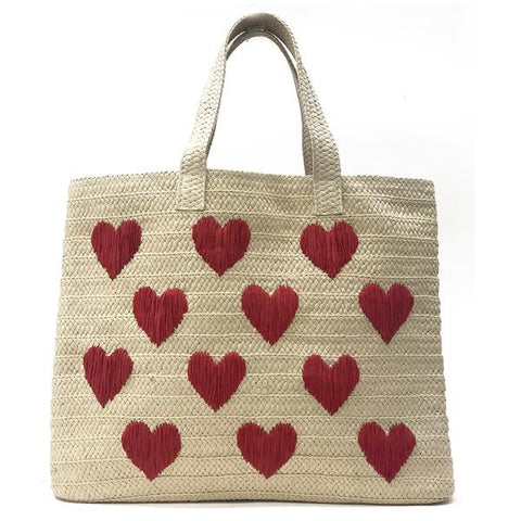 Be Mine Tote - Sand/Red