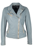 Mauritius - Sofia 4RF Leather Jacket - Sky Blue