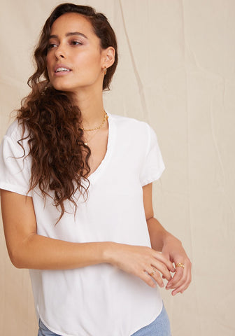 Bella Dahl - S/S V Neck Tee - White