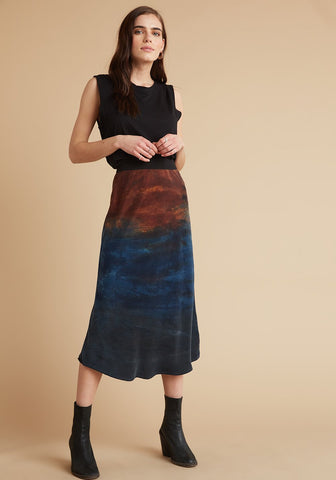 Bella Dahl - Elastic Waist Bias Skirt - Autumn Sky