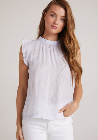Bella Dahl - Mock Neck Ruffle Top - Pale Iris