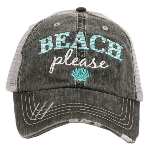 Olive and Bette's - Beach Please with shell Trucker Hat