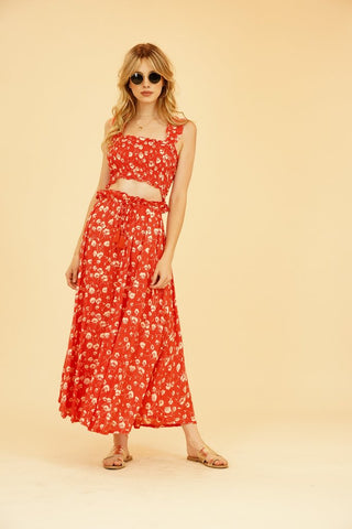 Tiare Hawaii - Angelina Crop Top Red Falling Floral