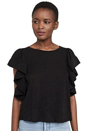 Ruffle Sleeve Tee - Black