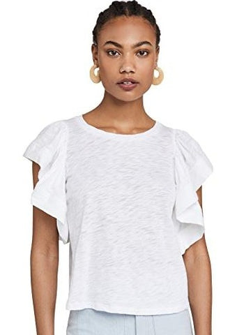 Goldie - Ruffle Sleeve Tee - White