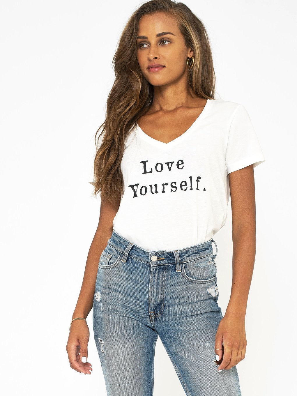 SOL ANGELES- Love Yourself V-Neck Tee
