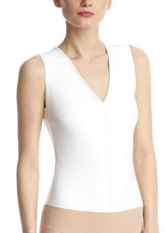 Commando - Faux Leather V-Neck Bodysuit - White
