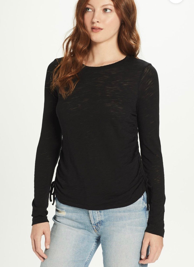 Goldie - Ruched Side L/S Tee - Black
