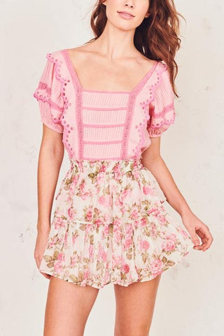 Love Shack Fancy Ruffle Mini Skirt - Blushing Rose