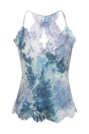 Gold Hawk - Tie Dye Silk Camisole - Blue