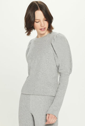 Goldie - Terry Puff Sleeve Sweatshirt - Grey Heather