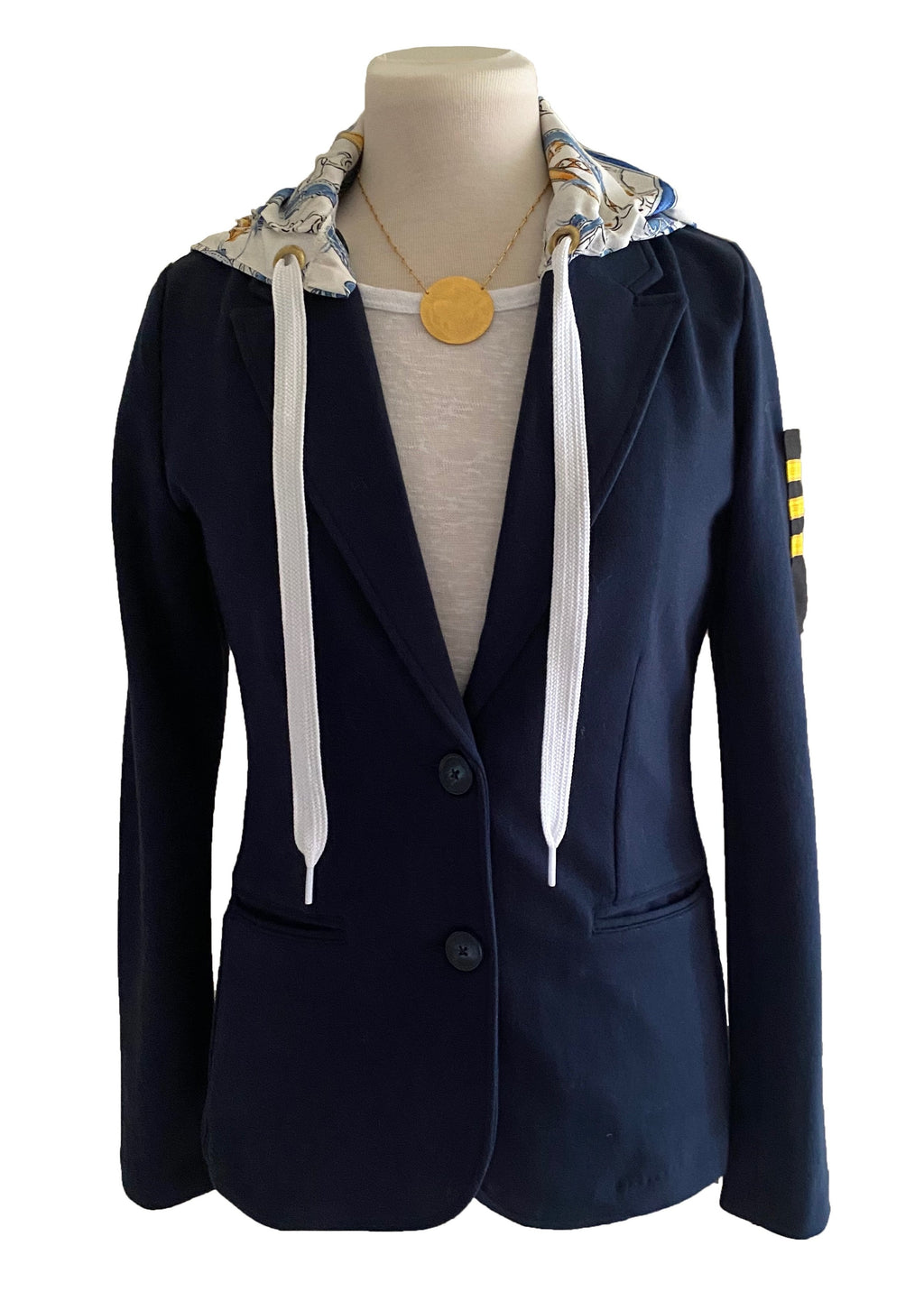 Yacht Club Patch Detachable Hood Blazer