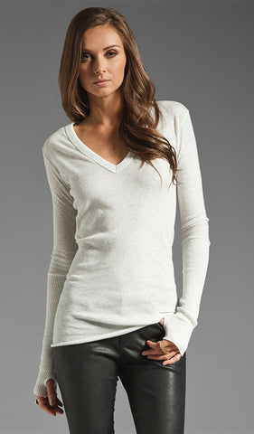 Enza Costa - Cashmere Cuffed LS V-Neck - White