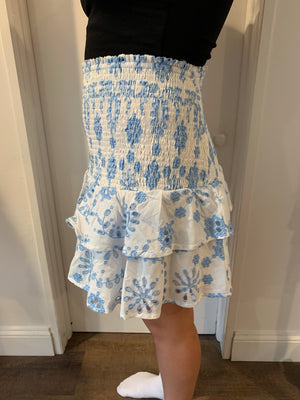 Blue Embroidered Tier Skirt