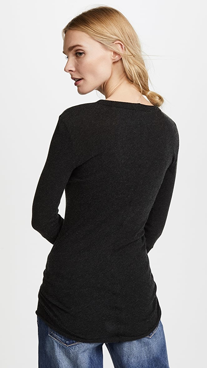 Enza Costa Cashmere Fitted Cuffed Crew - Black