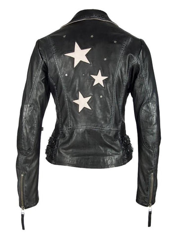 Mauritius - Star Moto Leather Jacket - Black/Tan