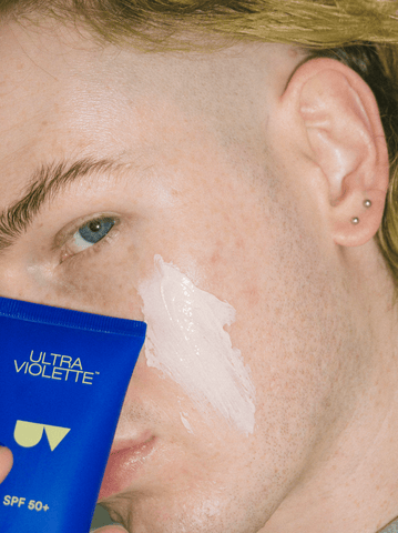 Image of the side of Iain's face with a swatch of Supreme Screen across his cheek