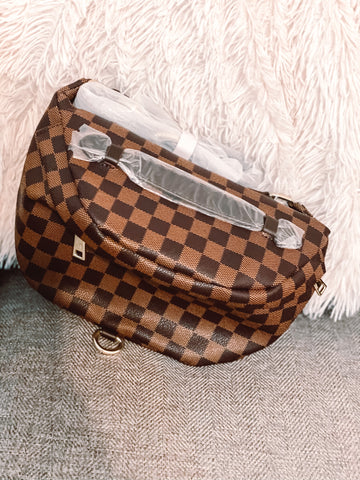 Brown Checked Bumbag