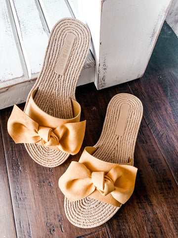 Mustard Bow Bamboo Sandals