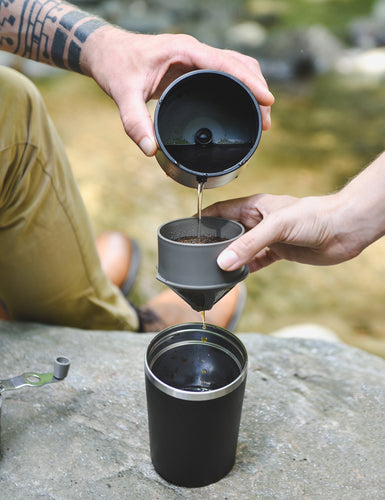 Image of a Cafflano Portable Pourover Kit being in use.