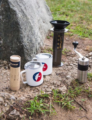 Angled shot of the Camp Brewing Kit outside.