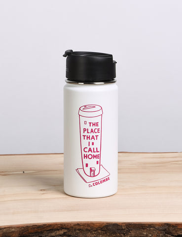 Front shot of a For Here or For Home Coffee Flask.