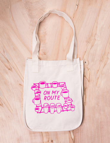 On My Route Canvas Tote