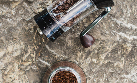 Top view of a Handground Precision Coffee Grinder.