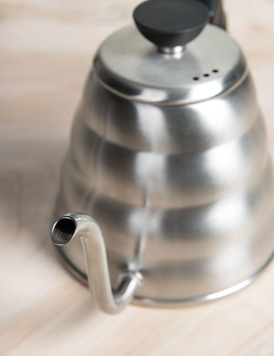 Close-up angled shot of a Hario Buono Kettle 1.2L.