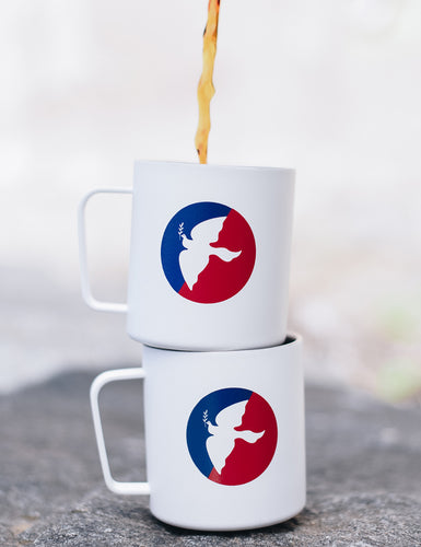 Front shot of two Miir Camp Mugs stacked on top of each other.