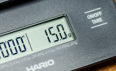 Close-up shot of the display screen on a Hario Scale.