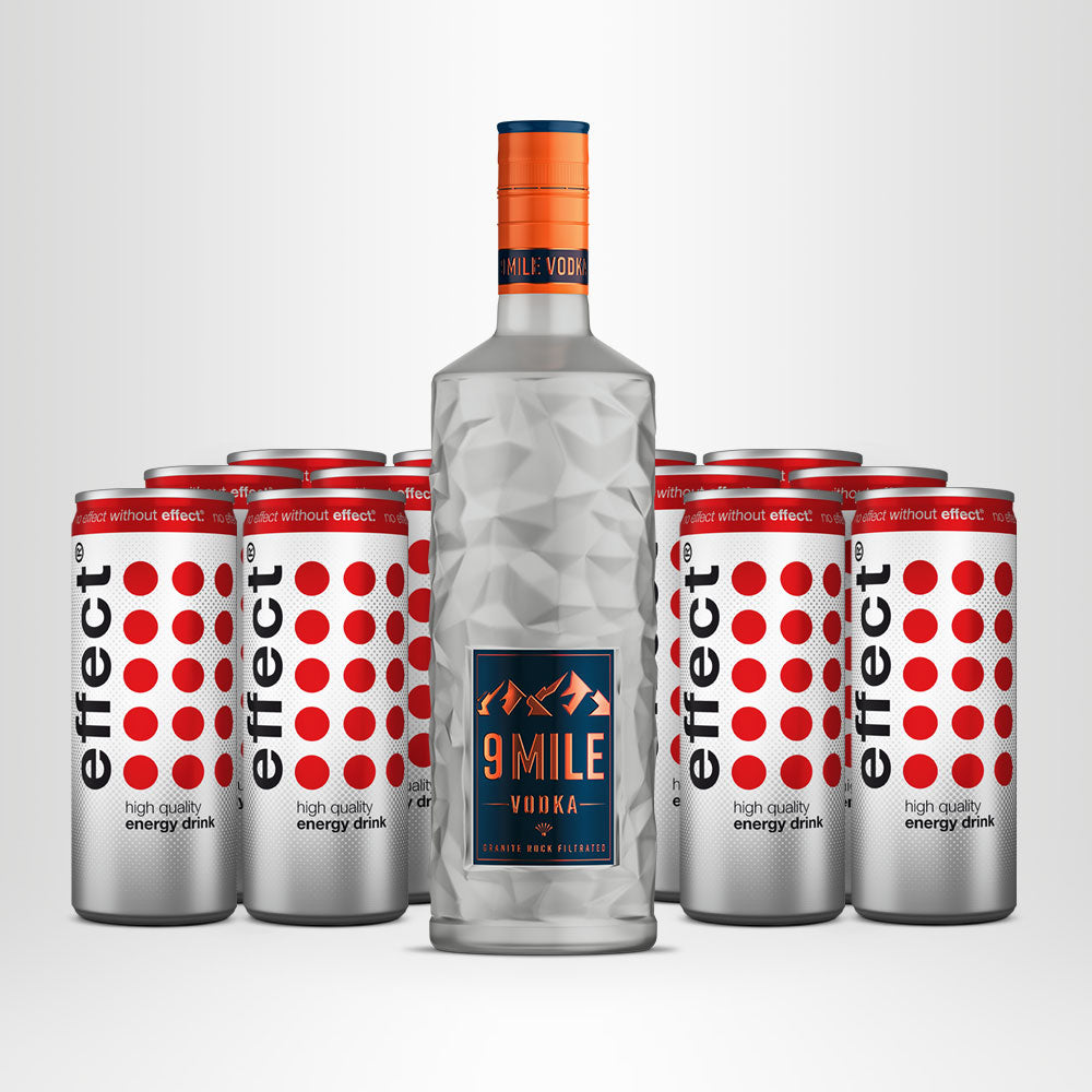 9 MILE Vodka, 0,7l + 12x effect® Energy Drink, 0,25l