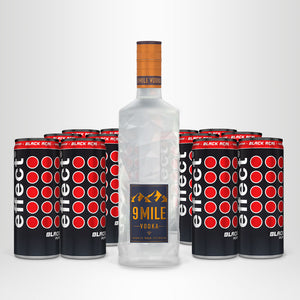 9 MILE Vodka, 0,7l + 12x effect® BLACK AÇAI, 0,25l