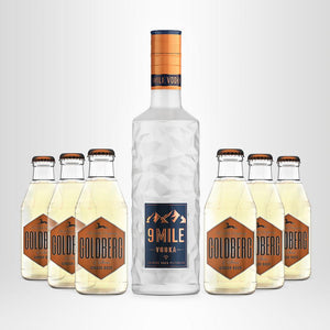 9 MILE Vodka, 0,7l + 6x GOLDBERG nach Wahl, 0,2l