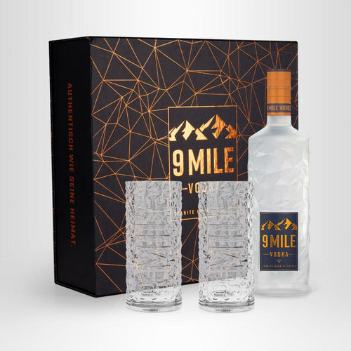 9 MILE Vodka, 0,7l + 2x 9 MILE Vodka Highball Glas in Geschenkbox