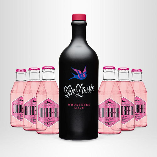 Gin Lossie Moosbeere Likör, 0,7l + 6x GOLDBERG Indian Hibiscus Tonic, 0,2l