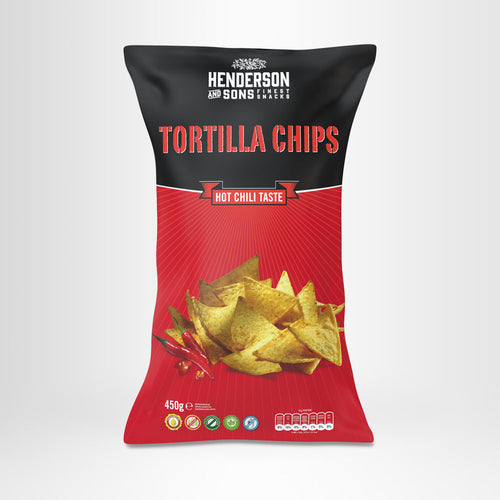 HENDERSON & SONS Tortilla Chips Hot Chili 450g-Beutel