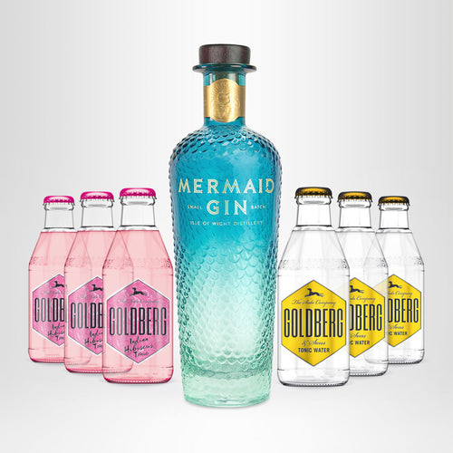 MERMAID Gin, 0,7l + 3x GOLDBERG Hibiscus Tonic, 0,2l + 3x GOLDBERG Tonic Water, 0,2l